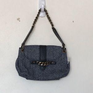 J.crew wool blue with bronze hardware shoulder bag